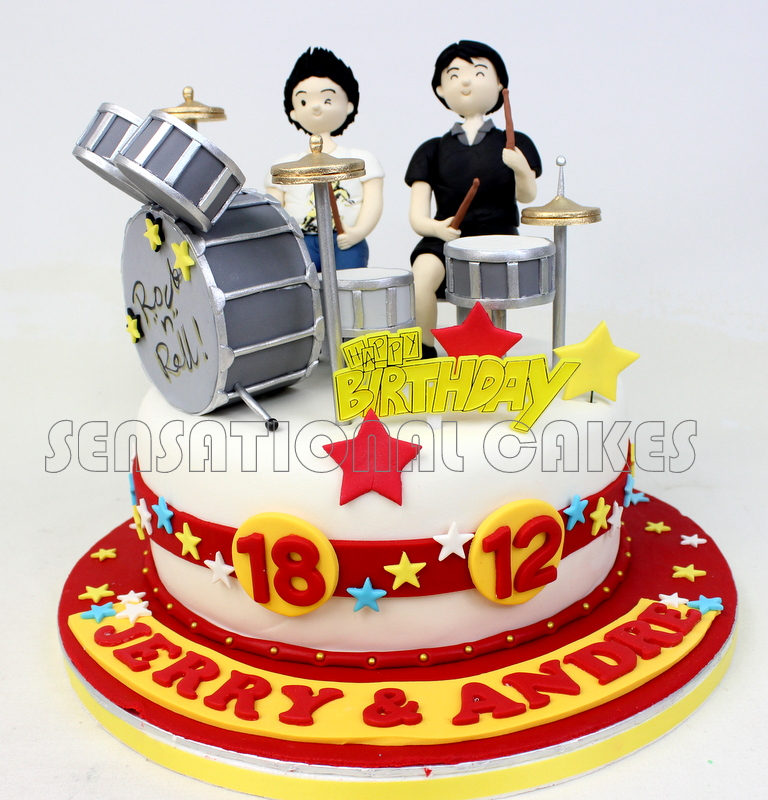 DRUM SET TWINS BIRTHDAY CAKE SINGAPORE DETAIL SUGAR CONSTRUCTED KIT FONDANT 3D MUSICAL THEME CUSTOMIZED