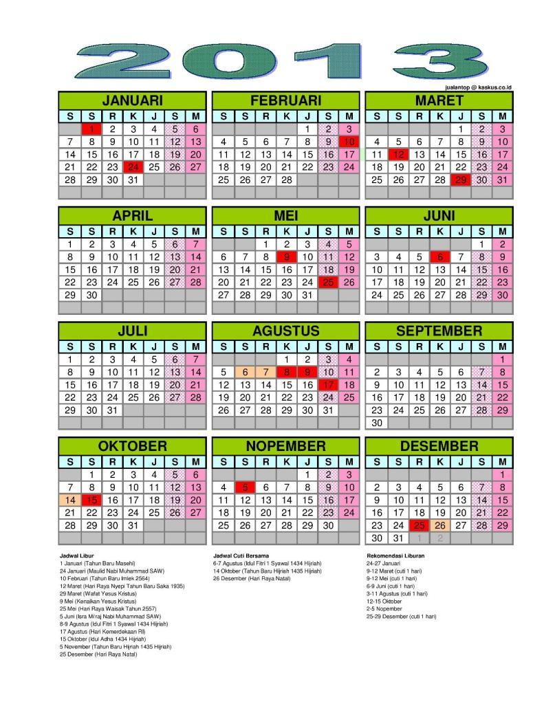 Jadwal Liburan Sekolah Tahun 2013