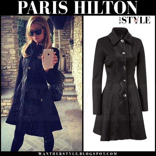 Paris Hilton in black flared Phillipp Plein coat what she wore winter style