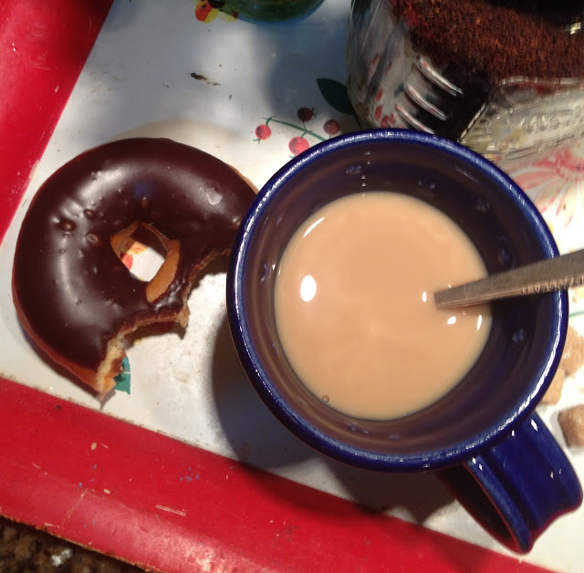 Starbucks Coffee and Walmart Bakery Chocolate Donut
