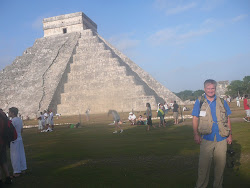 The Author (Freestyle World Traveler) Larry Cenotto at The Pyramid of Kukulcan, Chichen Itza