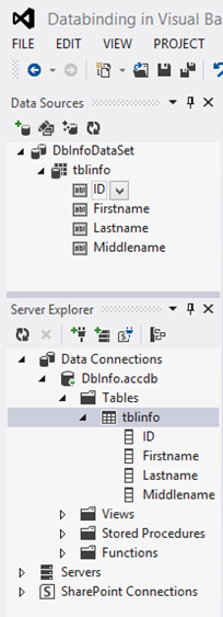 Visual Studio Data Sources and Server Explore Windows
