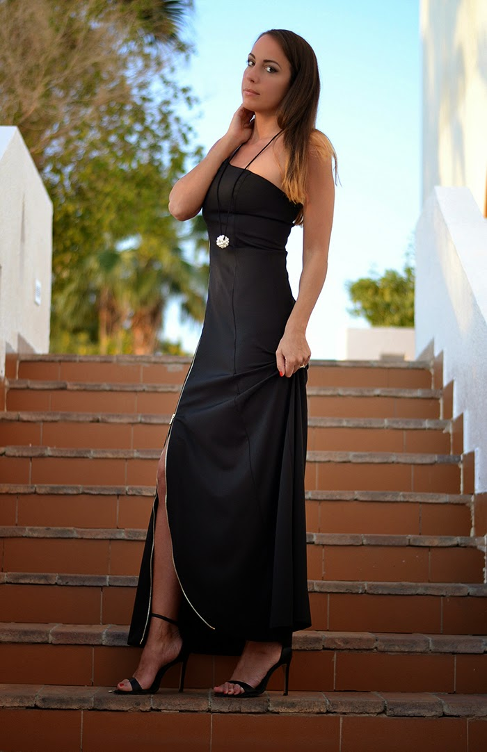 black elegant gown