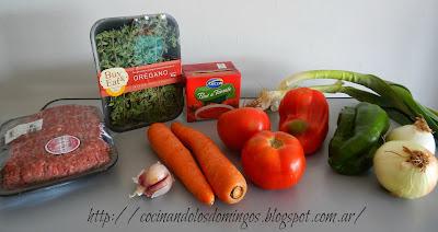 lasaña de carne y vegetales
