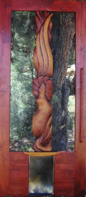 """The Flame"" stained alder wood screen door"