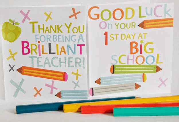 thank you for being a brilliant teacher, good luck on your first day at big school, greeting cards, designers, Liz and Pip Ltd