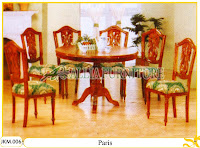 Kursi dan Meja Makan Kayu Jati Ukiran Paris