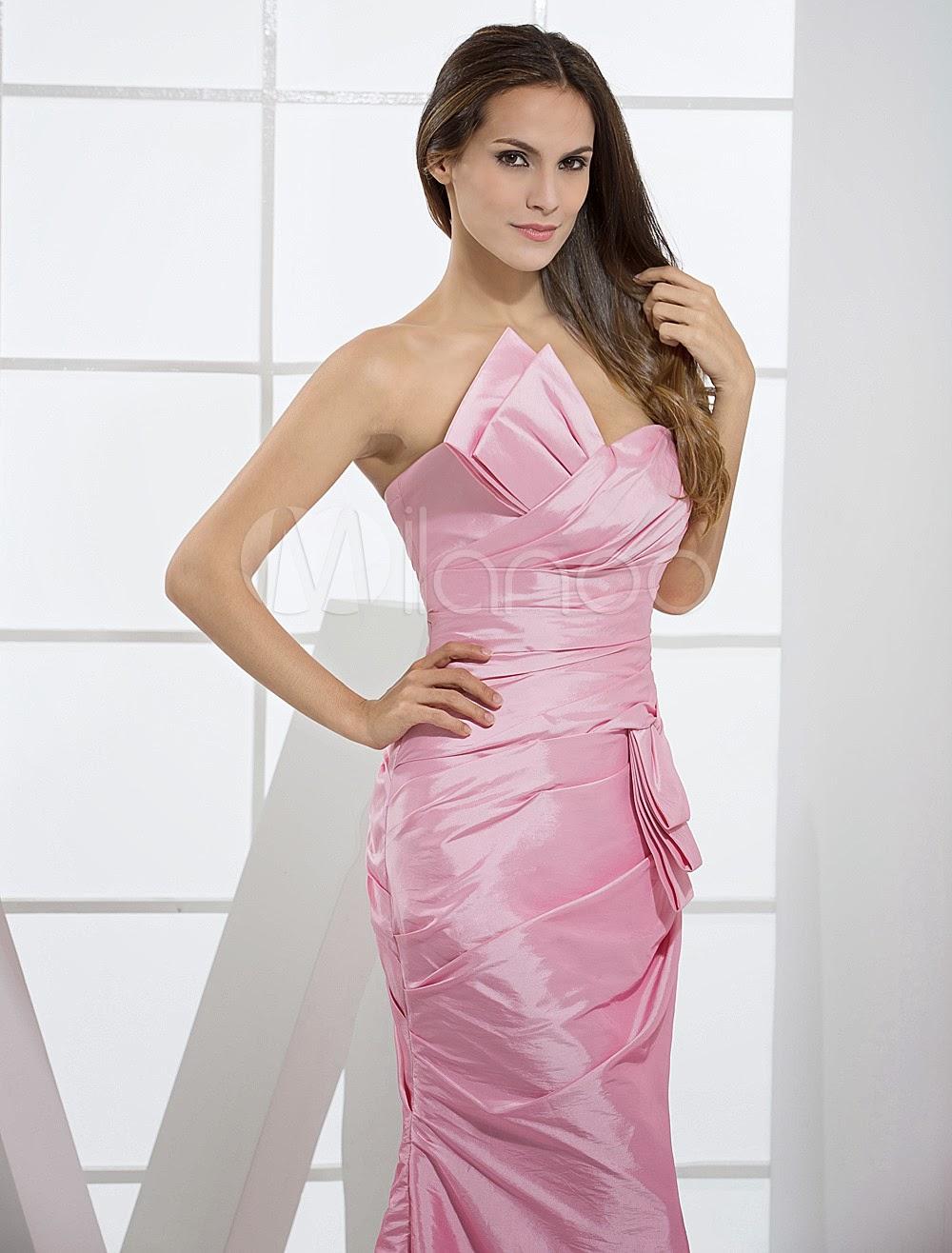 China Wholesale Dresses - Pink Taffeta Mermaid Trumpet Ladies Special Occasion Dress