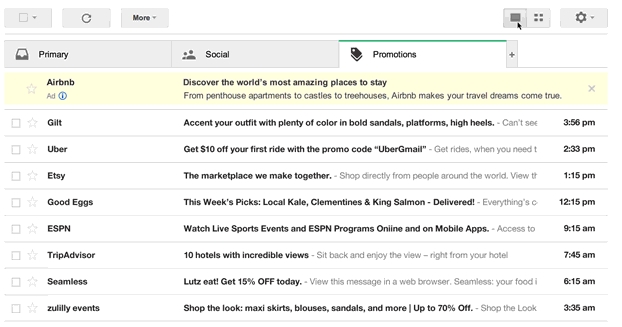 Gmail promotion mails visual preview