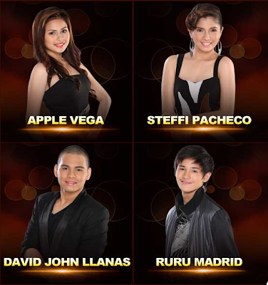 Apple Vega (Dipolog City) Steffi Pacheco (Davao City) David John Llanas (Cagayan De Oro City) Ruru Madrid (Zamboanga City)