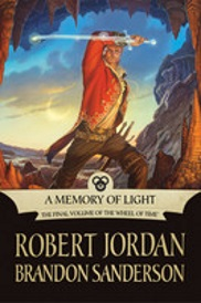 Cover of A Memory of Light, featuring a red-haired white man in a red coat wielding a sword made of crystal.