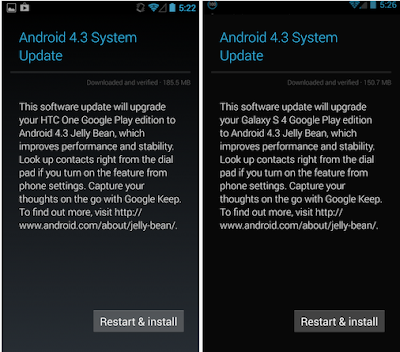 Google Releases Android 4.3 for HTC One and Galaxy S4 Google Play Editions