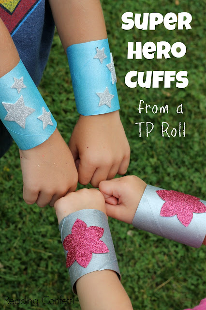 Make super hero cuffs from an empty paper roll