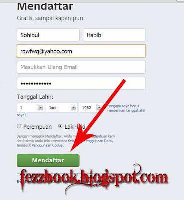 cara daftar facebook di yahoo