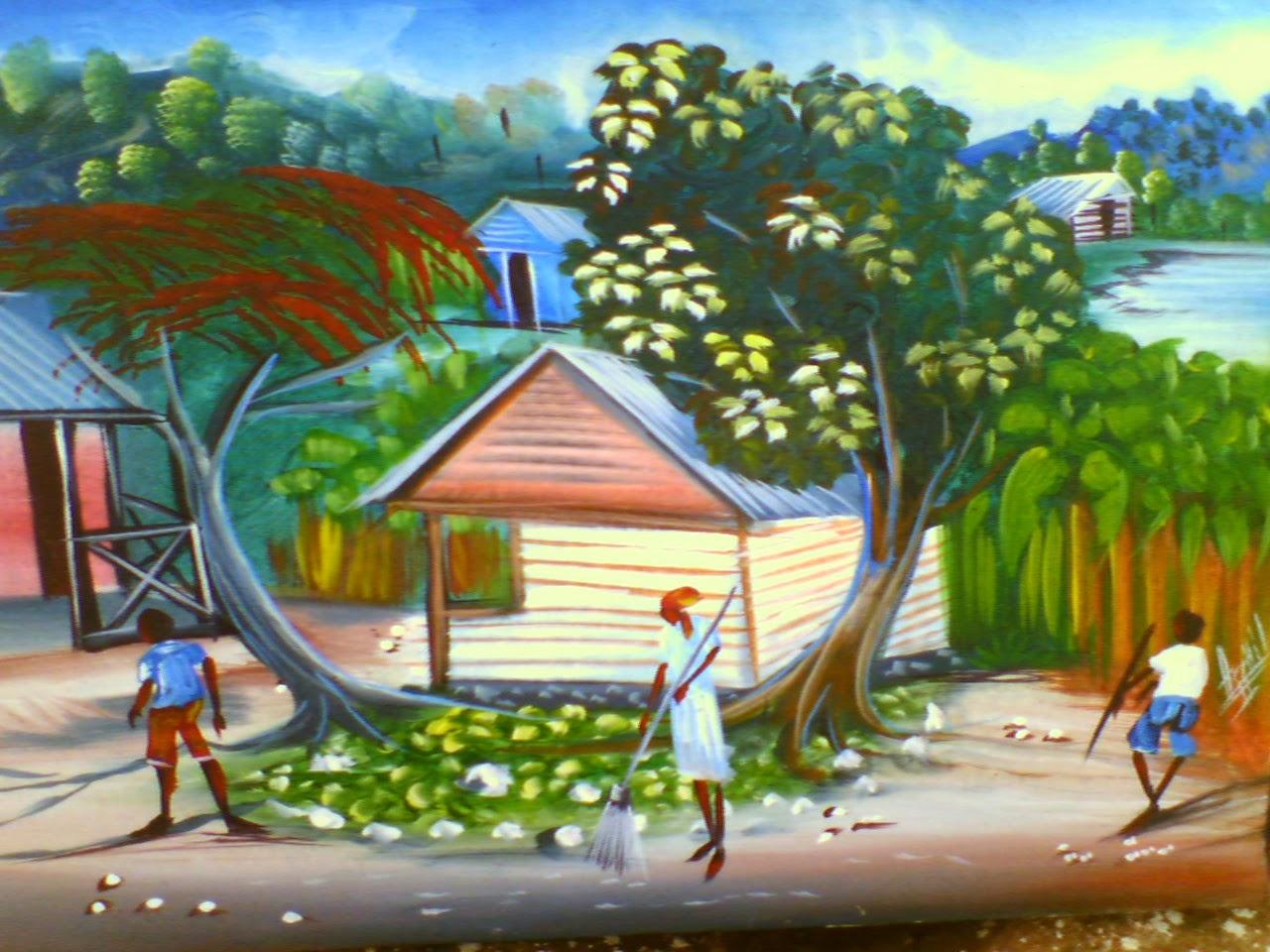 Haitianarts painting courtyard Las Galeras