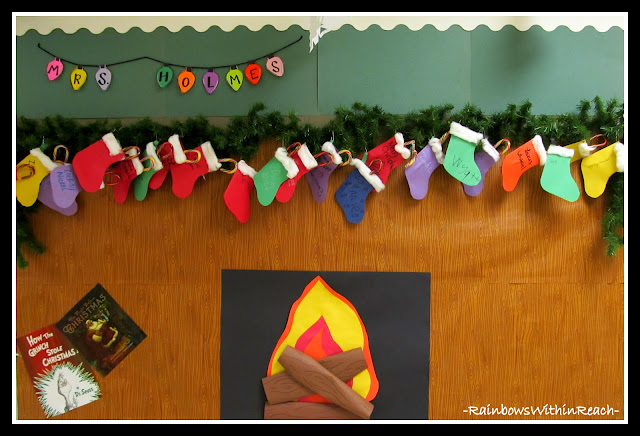 photo of: Fireplace Glowing with Decorated Stockings Bulletin Board (via Christmas Bulletin Board RoundUP at RainbowsWithinReach)