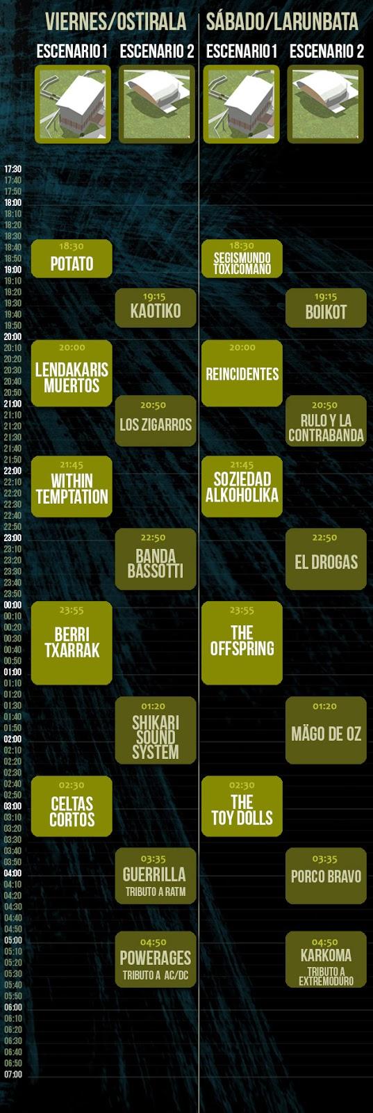 Horarios, En Vivo 2013, Bilbao, Festival