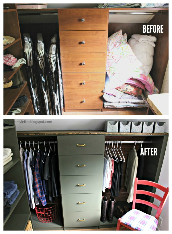 walk-in closet makeover with built-ins before and after