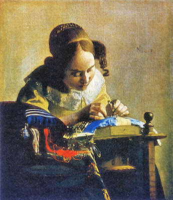 "Vermeer's ""The Lacemakers"" painting, A guide to vintage lace wedding dresses, c Heavenly Vintage Brides"