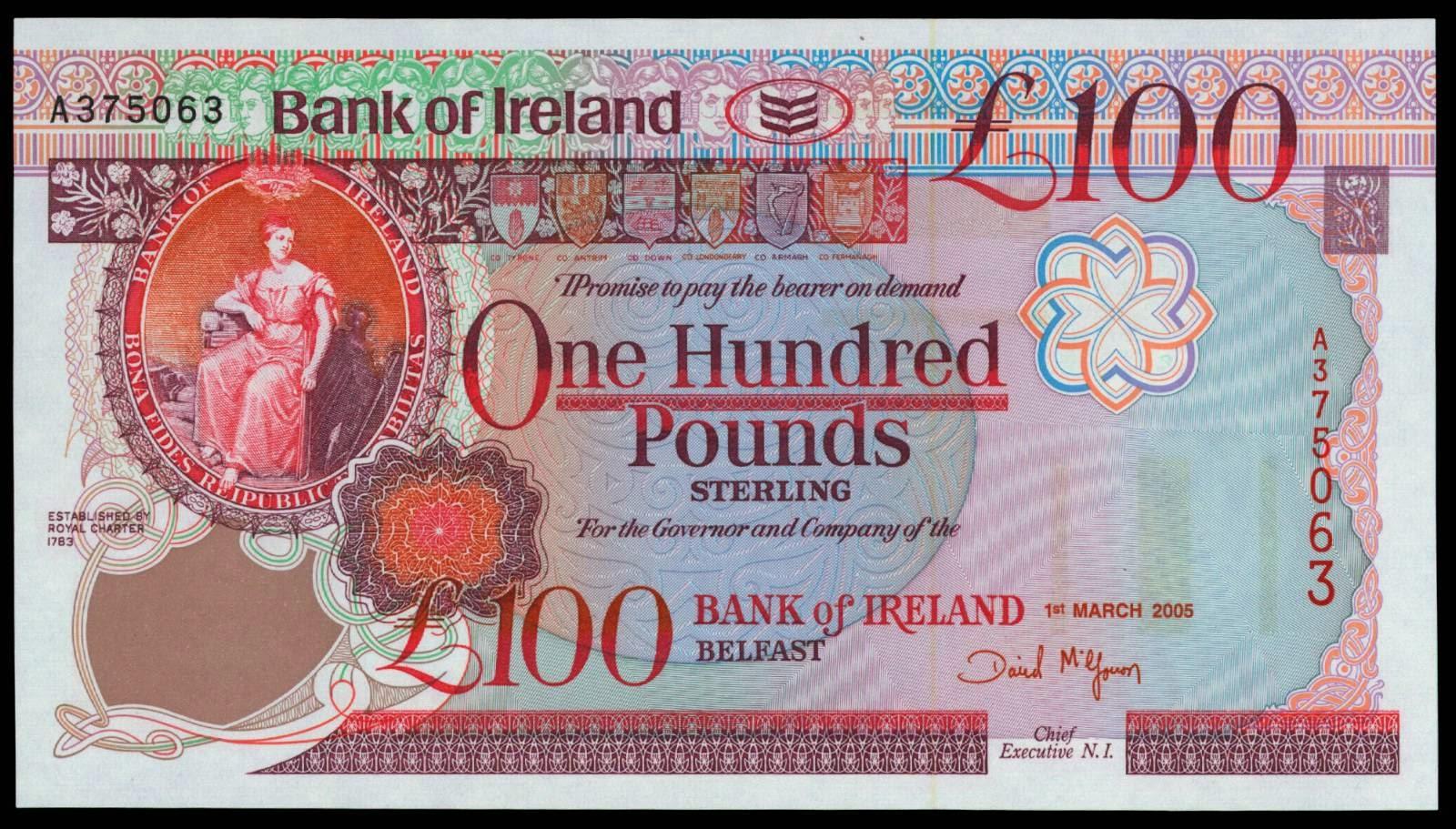 bank of ireland 100 pound note 2005world banknotes