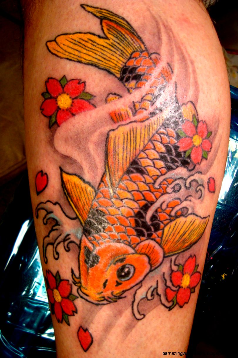 Golden fish tattoo amazing wallpapers for Koi fish designs