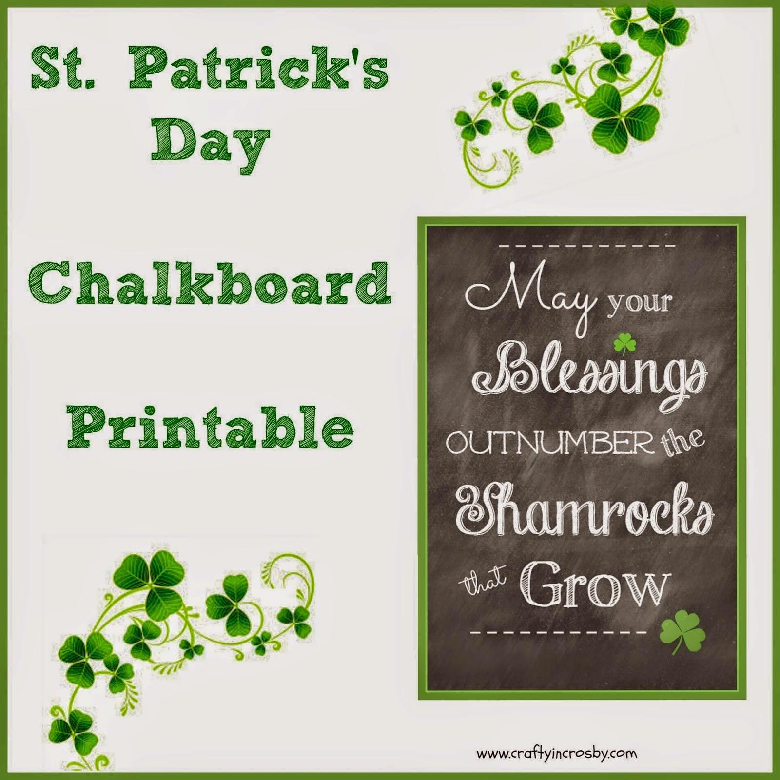 st patricks day chalkboard printable