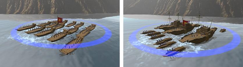 เรือโจมตี (Mengchong) โจมตีระยะใกล้ มีเกราะป้องกันแข็งแรง , ส่วนเรือประจัญบาญ (Dou Jian) เป็นเรือรบที่แข็งแกร่งที่สุดในเกม