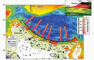 A map of the Himalayan region shows the potential for continuing earthquake activity in the 'seismic hazard' zone where a nuclear device went missing in 1965