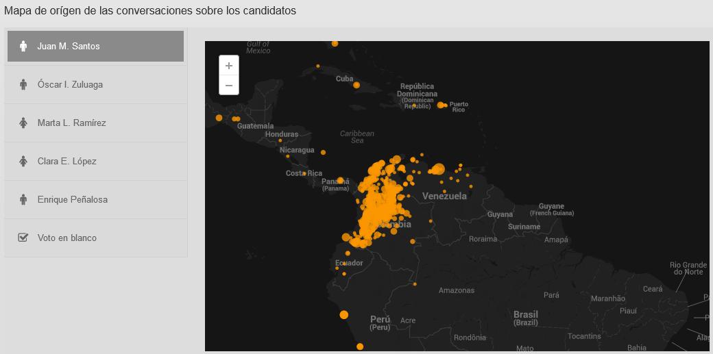 Mapa Actividad Twitter - Elecciones presidenciales Colombia 2014