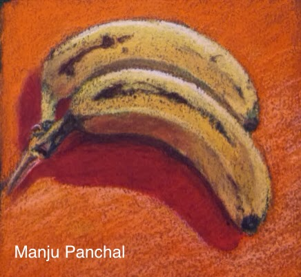 Soft pastel paintings of bananas by manju Panchal