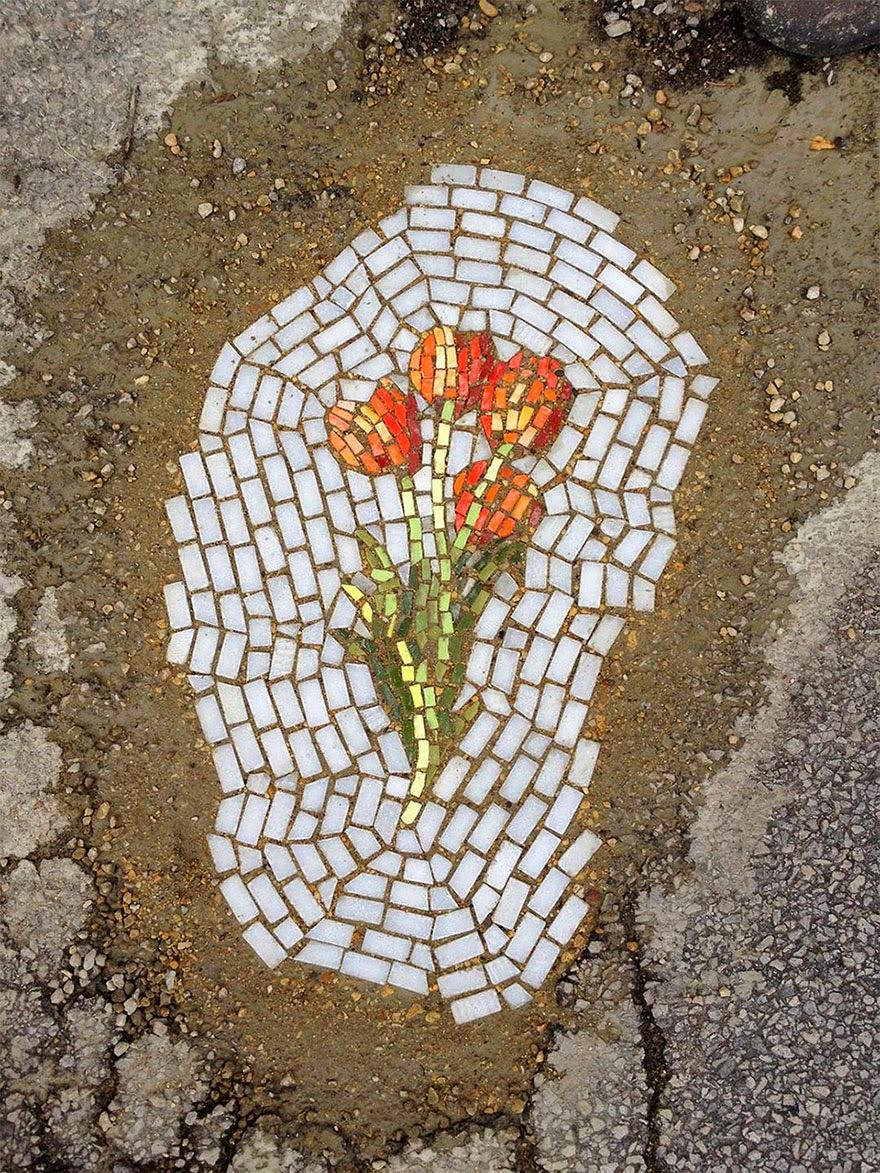 mosaic flowers potholes chicago art