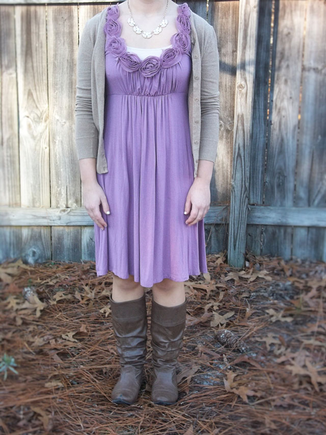 dressember orchid purple dress tan cardigan brown boots ivory necklace outfit human trafficking