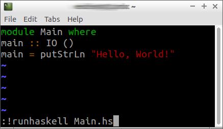 finestra di lxterminal con vim per editare un file haskell