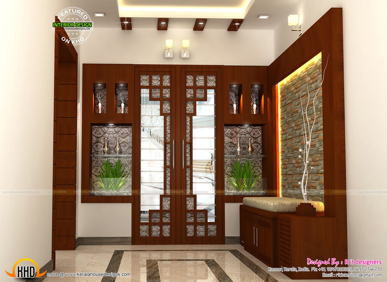 Interior decors by r it designers kerala home design and for Kerala house living room interior design