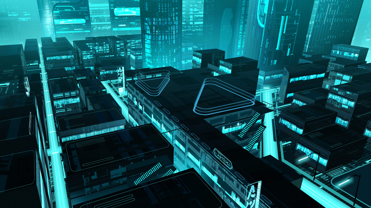 group of tron buildings city sci