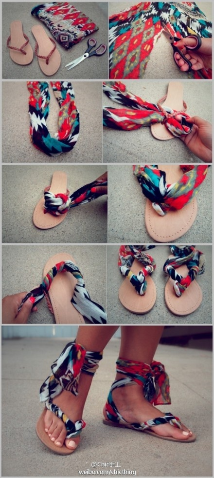 Flip flop and scarf shoes