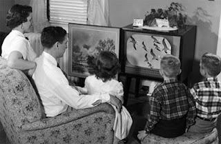 TV, television, black and white, family, children, parents, old school