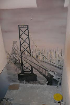 Malowanie mostu na ścianie, obraz czarno biały Warszawa