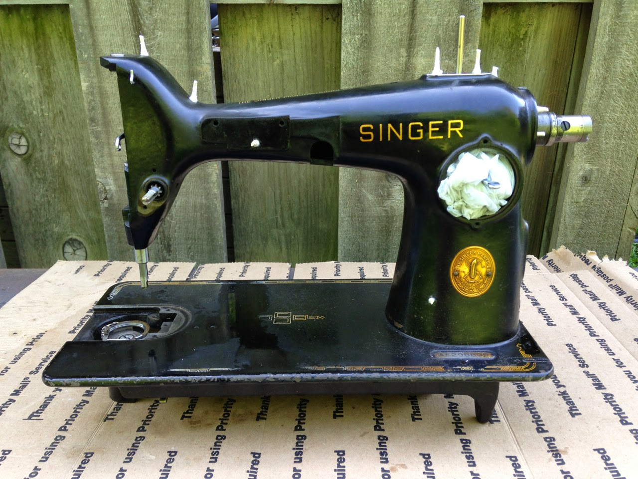 stripping paint off a sewing machine the project lady take everything off the machine motor and terminal light and wires bobbin area face plate tension assembly and stitch length selector cover