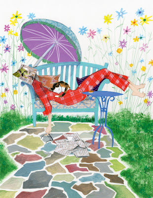 illustration of a man relaxing in the garden with the sunday paper