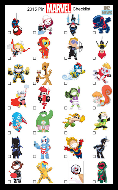 San Diego Comic-Con 2015 Exclusive Skottie Young Marvel Pin Series Checklist
