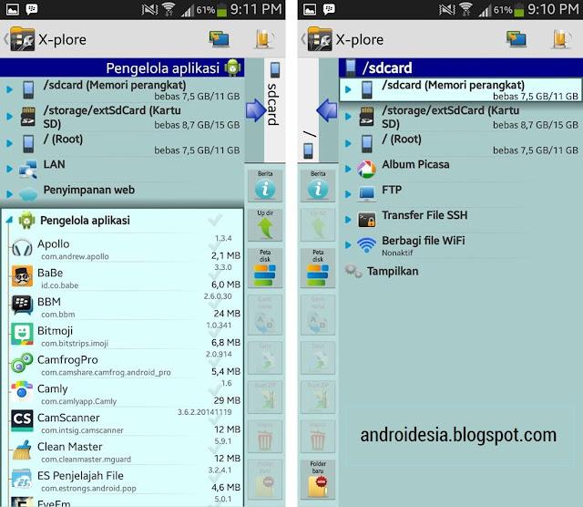 Aplikasi X-plore File Manager untuk Android
