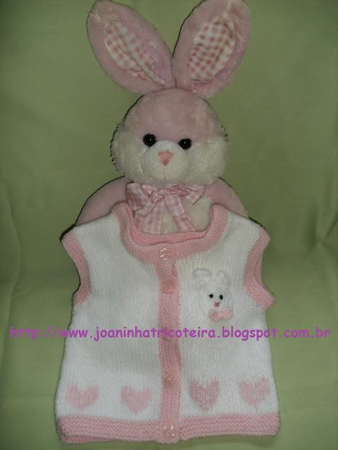 colete de tricot com bordado e aplicação