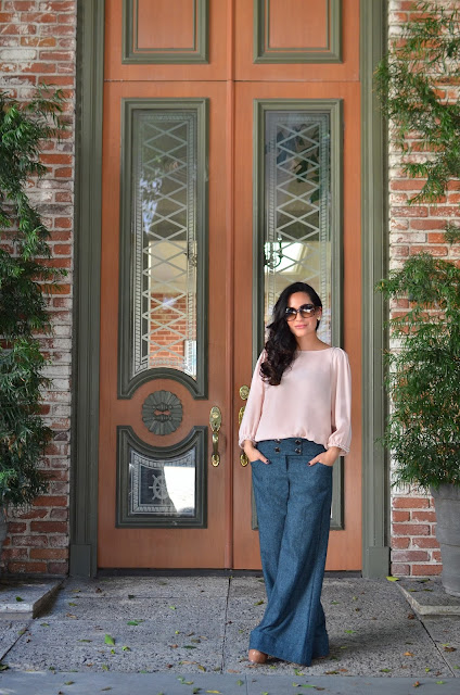 rose quartz piace blouse wool serenity wide-leg Express trousers gucci sunglasses saint laurent heels