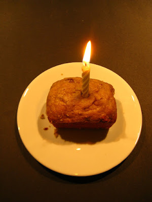 Banana bread muffin celebrating first anniversary of garden muses: a Toronto gardening blog