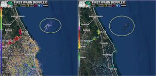 Obraz radarowy obszaru, nad którym zarejestrowano szczątki rakiety. (NASA TV)