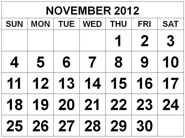 November 2012: FREE IS MY LIFE: FREEISMYLIFE November 2012 Calendar