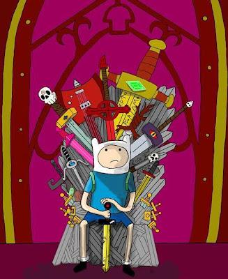 Finn de hora de aventuras ocupando el trono de hierro - Juego de Tronos en los siete reinos.