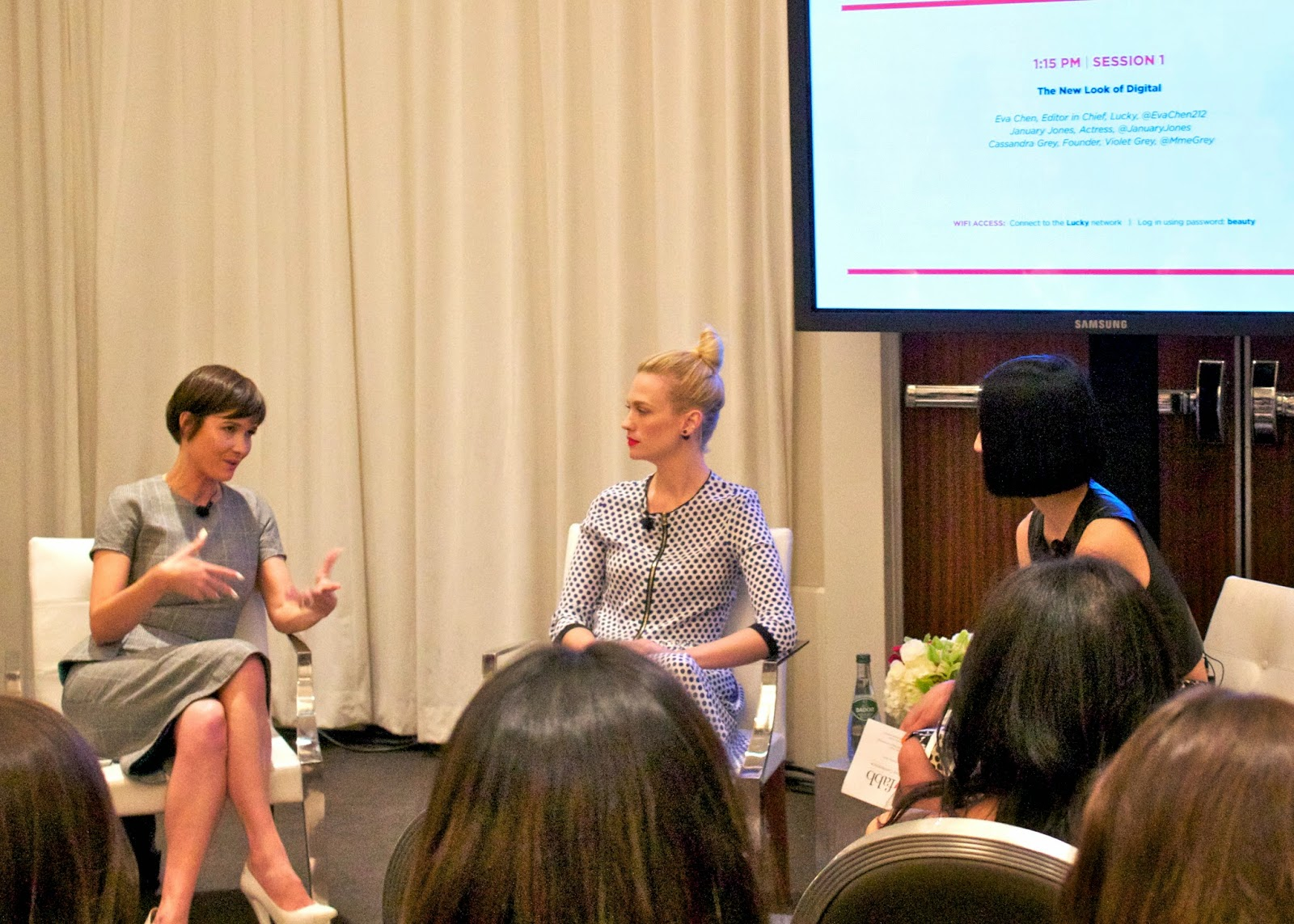 Cassandra Grey and January Jones, January Jones Outfit, January Jones at LuckyFabb