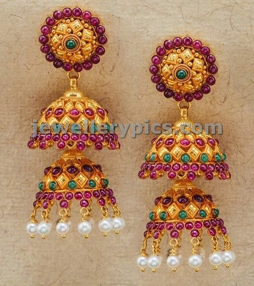 two step jhumki studded with ruby emeralds